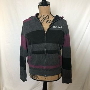 Women's |  Hurley | Zip-up Striped Hoodie